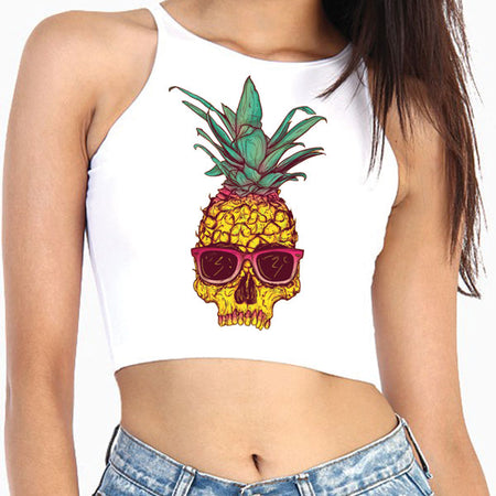 Pineapple Skull Crop Top