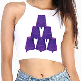 Purple Stacked Cups Crop Top