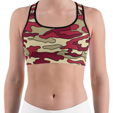 Red & Cream Camo Sports Bra