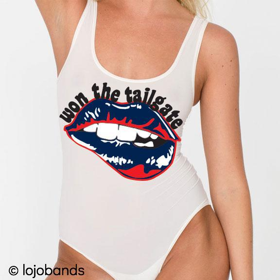 Won the Tailgate Lips Tank Bodysuit