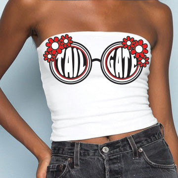 Red & Black Sunglasses Tube Top
