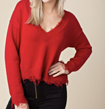Distressed Sweater - lo + jo, LLC