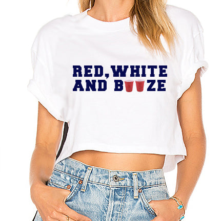 Red White & Booze Cropped Tee