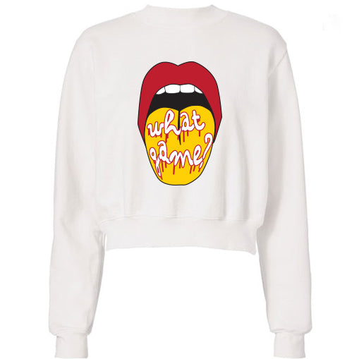 Red & Yellow What Game Lips Cropped Sweatshirt