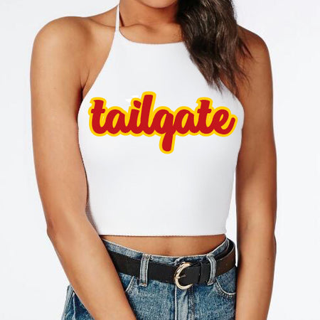 Red & Yellow Tailgate Halter Top