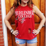 Rose Embroidered Distressed Tank