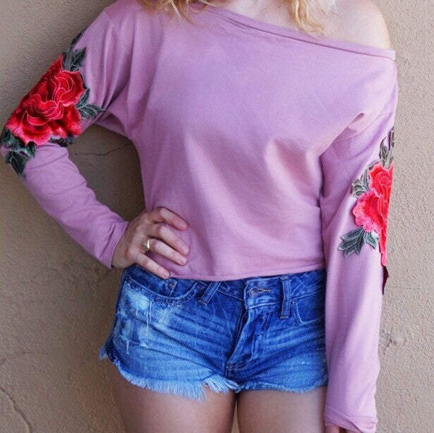 Rose Embroidered Off the Shoulder Sweatshirt
