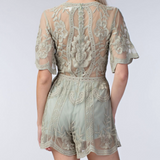 Sage Embroidered Lace Romper