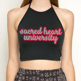 Sacred Heart Pioneers Black Halter Top