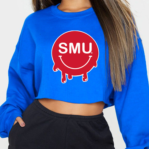 SMU Mustangs Blue Smile Cropped Crewneck