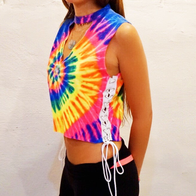 Rainbow Tie Dye Cut Out & Side Lace Up Tank