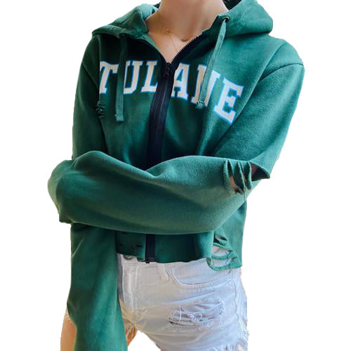 Tulane Distressed Zipper Sweatshirt