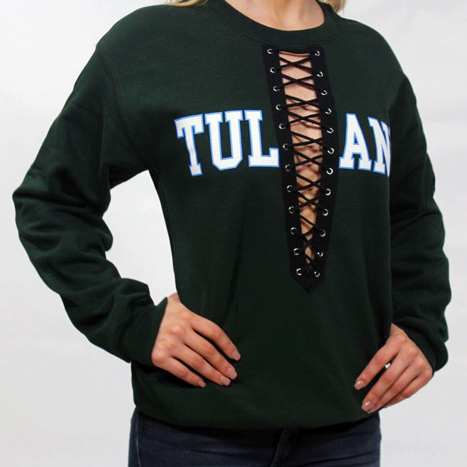 Black Lace Up College Sweatshirt - lo + jo, LLC