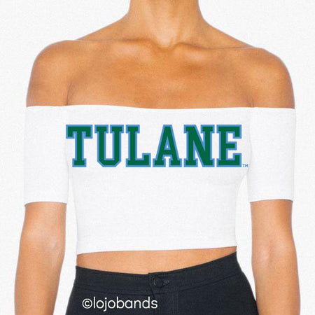 Tulane Off the Shoulder Crop Top