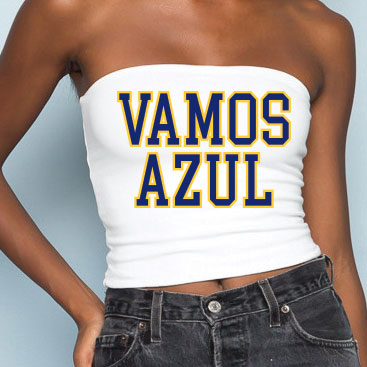 Vamos Azul White Tube Top