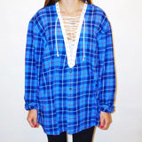 Classic White Lace Up Flannel - lo + jo, LLC