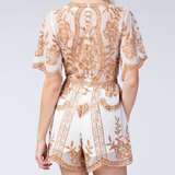 White Floral Embroidered Lace Romper