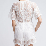 White Embroidered Lace Romper