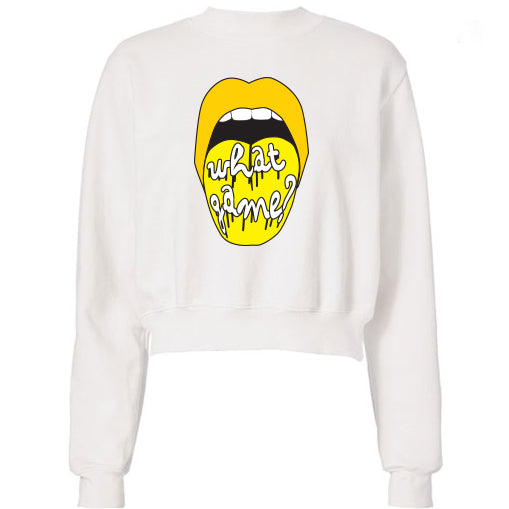 Black & Yellow What Game Lips Cropped Sweatshirt