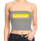 Yellow Game Day Checkered Tube Top