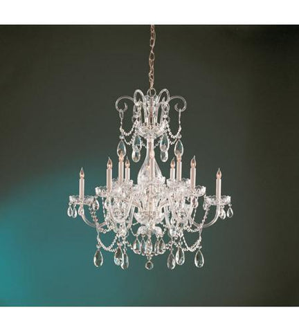 Crystorama 1035-PB-CL-SAQ Traditional Crystal 12 Light Swarovski Spectra Crystal Brass Chandelier II - PeazzLighting