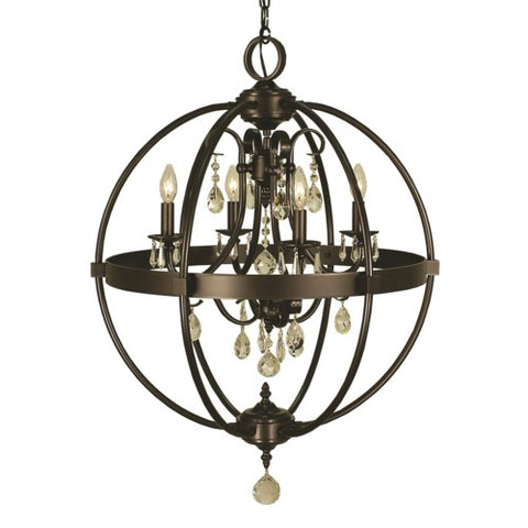 Framburg 1064-MB 4-Light Mahogany Bronze Compass Dining Chandelier