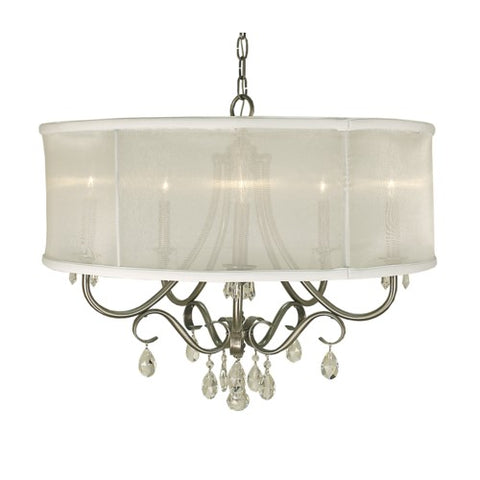 Framburg 1236-BN/SWH 5-Light Brushed Nickel Liebestraum Dining Chandelier