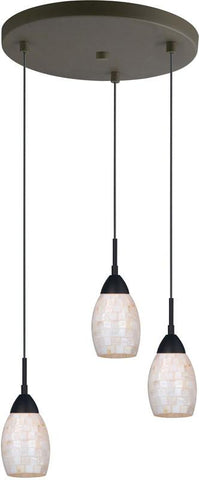 Woodbridge Lighting 13224MEB-C20407 Venezia Pearl 3-Light Cluster Pendant