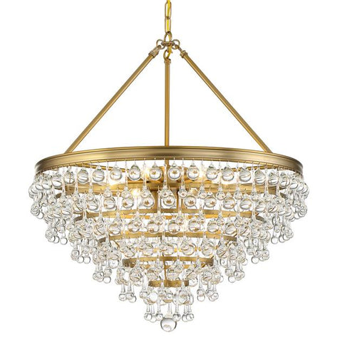 Crystorama Calypso 8 Light Crystal Teardrop Vibrant Gold Chandelier