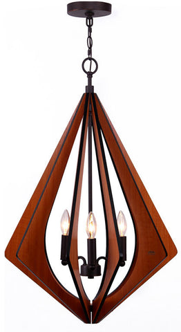 Woodbridge Lighting 14013MEB Fins Foresee Wood 3-light Foyer Pendant - PeazzLighting