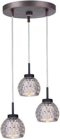 Woodbridge Lighting 16324MEB-C00514 Charlotte 3-Light Cluster Pendant
