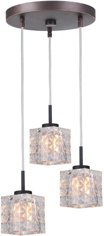 Woodbridge Lighting 16324MEB-C80410 Charlotte 3-Light Cluster Pendant