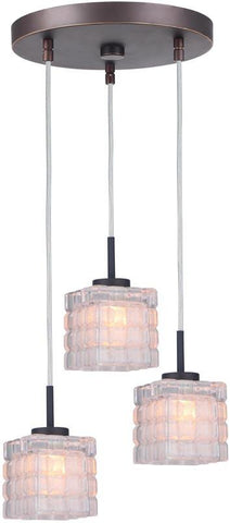 Woodbridge Lighting 16324MEB-C80415 Charlotte 3-Light Cluster Pendant