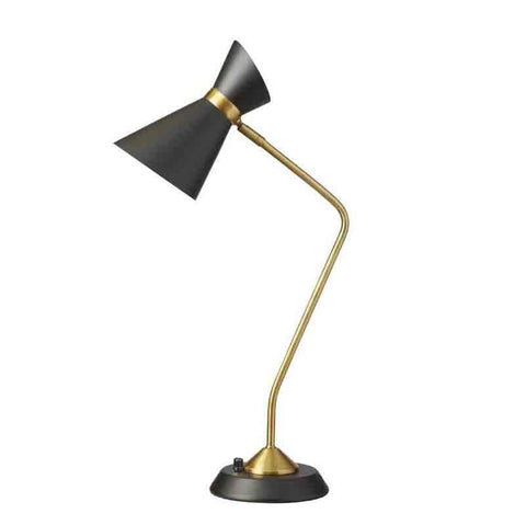 Dainolite 1679T-BK-VB 1LT Table Lamp w/ Black Shade, VB