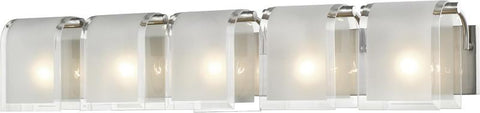 Z-Lite 169-5V-BN 5 Light Vanity Light Zephyr Collection Clear Beveled+Frosted Finish - ZLiteStore
