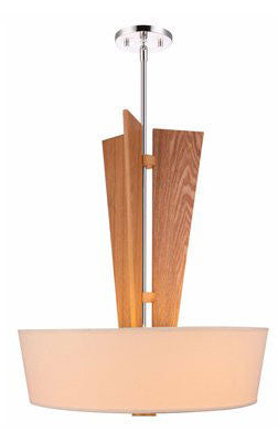 Woodbridge Lighting 17020STN Angle 3-light Wood and Tappered Shade Pendant - PeazzLighting
