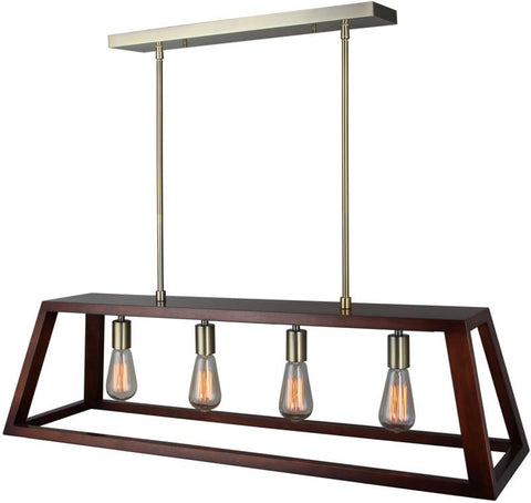 Woodbridge Lighting 17222CBR-WLK4WN Walden Wood Island Pendant