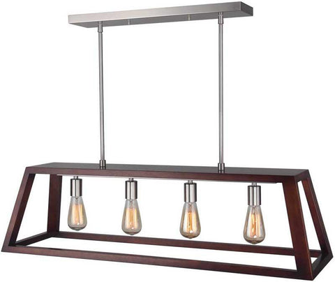 Woodbridge Lighting 17222STN-WLK4WN Walden Wood Island Pendant