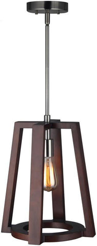 Woodbridge Lighting 17226STN-WLL1WN Bella Wood Mid-pendant