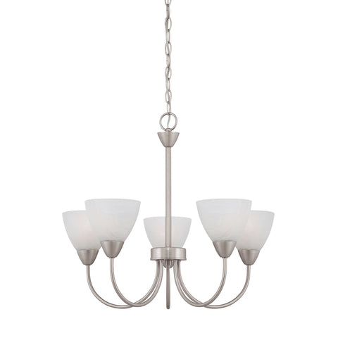 Thomas Lighting 190006117 Tia Collection Matte Nickel Finish Transitional Chandelier