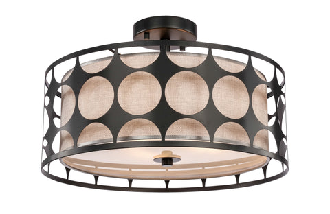 "Woodbridge Lighting 19935BLK 3-light Fleming 17"" Semi-flush"