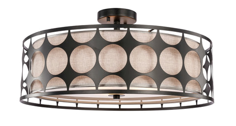 "Woodbridge Lighting 19937BLK 3-light Fleming 22"" Semi-flush"
