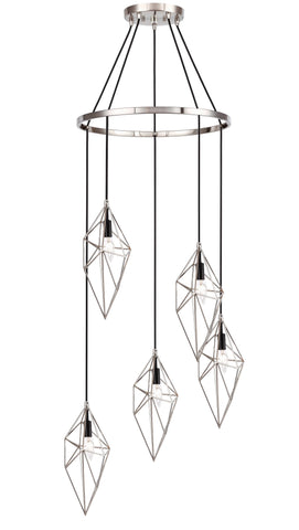 Woodbridge Lighting 20728STB-STN Lanning 5-light Pendant Chandelier