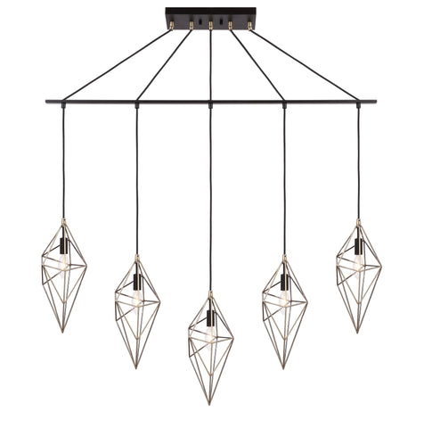 Woodbridge Lighting 20729ABK-DBZ Lanning 5-light Linear Pendant