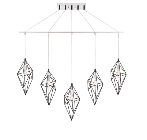 Woodbridge Lighting 20729BKC-CHR Lanning 5-light Linear Pendant