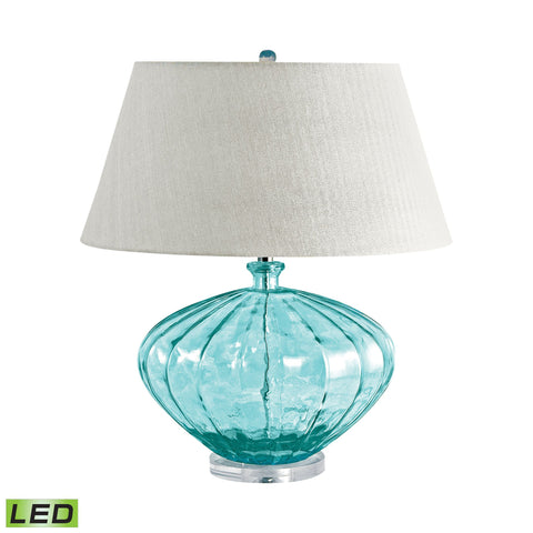 Lamp Works LAM-210-LED Recycled Glass Collection Blue Finish Table Lamp