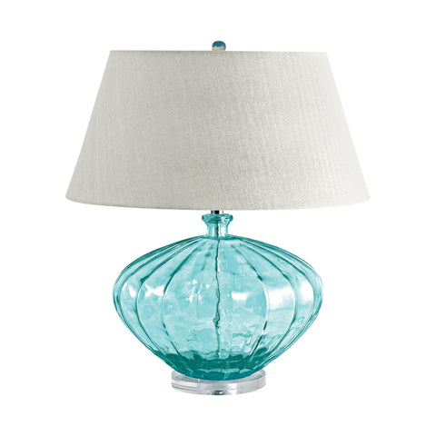 Lamp Works LAM-210 Recycled Glass Collection Blue Finish Table Lamp