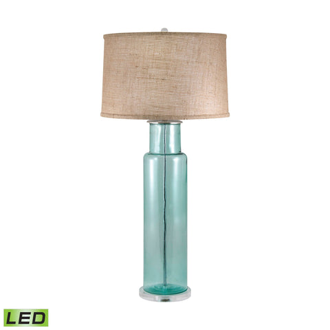 Lamp Works LAM-216B-LED Recycled Glass Collection Blue Finish Table Lamp