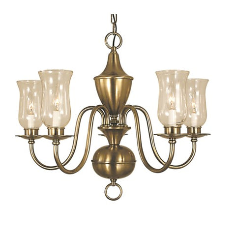 Framburg 2545-AB 5-Light Antique Brass Jamestown Dining Chandelier
