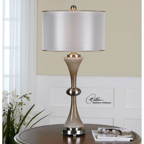 Uttermost 26777-1 Amerson Taupe Gray Glass Table Lamp